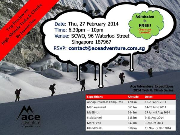 Preview Talk on High Altitude Treks & Climbs - Thu, 27 Feb 2014