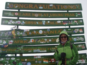 Ms Indu on the summit of Mt Kilimanjaro